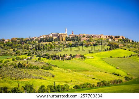 View of Pienza in Tuscany, Italy - stock photo