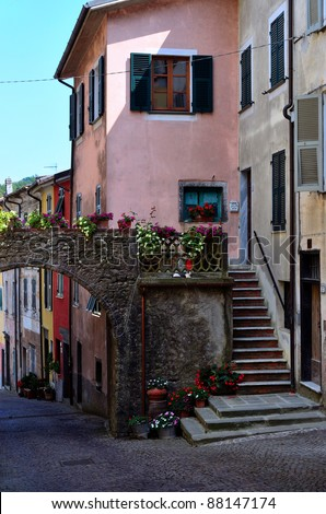 view of pignone, la  spezia, italy  The village has been reviewed as one of the most beautiful villages in Liguria Italy