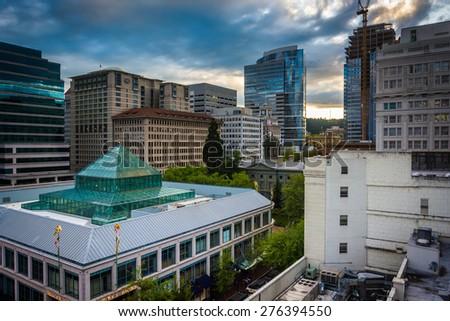 View of Pioneer Square, in Portland, Oregon. - stock photo