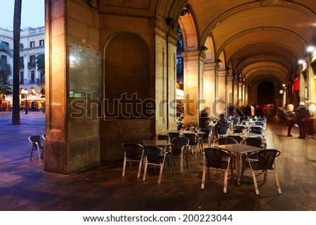View of Placa Reial in evening. Barcelona, Spain - stock photo