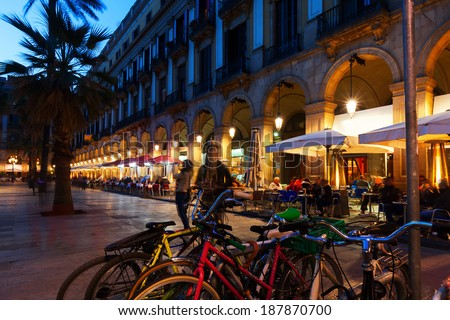 View of Placa Reial in  evening time. Barcelona, Catalonia - stock photo