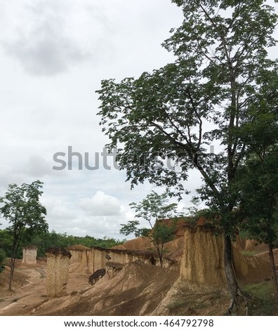 "view of Place in an area under the name ""Goat ghost town"" is located in Phrae, Thailand caused by the formation of the ""soil"" and naturally looks like in the picture."