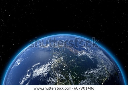 View Of Planet Earth From Space In 3D Elements This Image Furnished By NASA