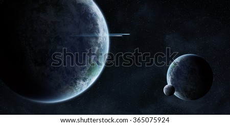 View of planets in space during a sunrise 'elements of this image furnished by NASA' - stock photo