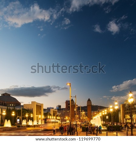 View of Plaza De Espana at night - stock photo