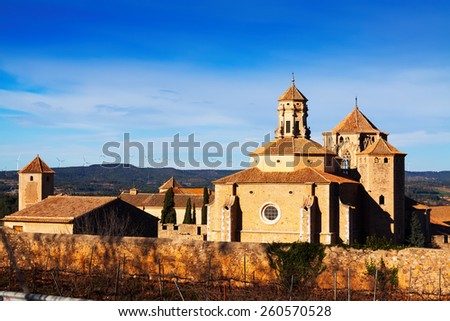 View of Poblet Monastery in winter. Catalonia, Spain - stock photo