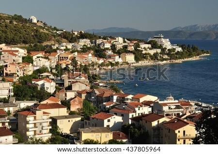 View of Podgora from mountain with Adriatic sea and islands in background. Croatia