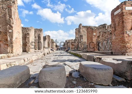 View of Pompeii, a ruined Roman city. Italy - stock photo