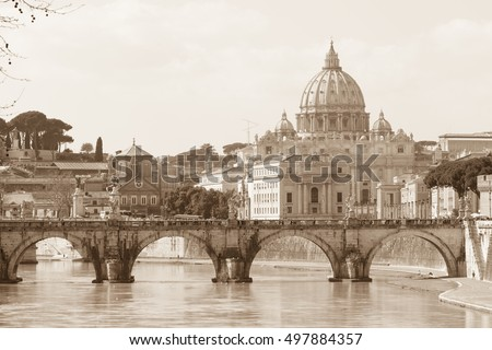 View of Ponte Sant'Angelo across Tiber in Rome