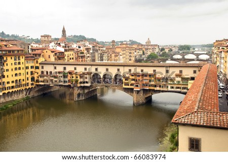 View of Ponte vecchio at Firenze - Italy - stock photo