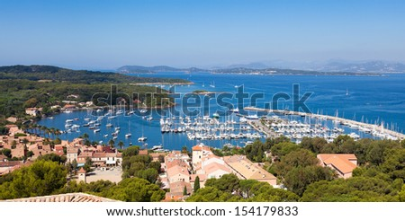 "View of Porquerolles island marina from "" Fort Sainte Agathe "" in France"