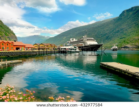 View of port Flam with cruise ship.  Aurlandsfjord, Norway, Scandinavia, Europe.     - stock photo