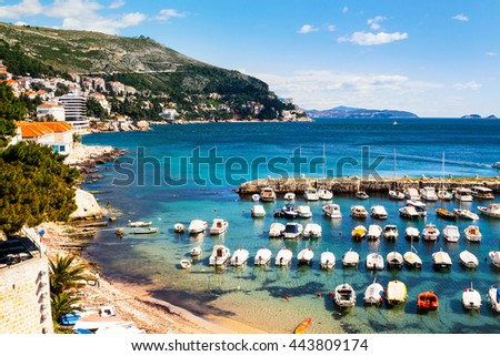 View of port of Old City Dubrovnik, Croatia - fortress and the Mediterranean Sea - stock photo