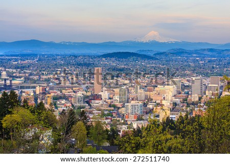 View of Portland, Oregon from Pittock Mansion - stock photo