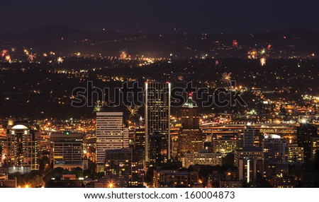View of Portland Oregon, USA from Pittock Mansion during a Fireworks Show.