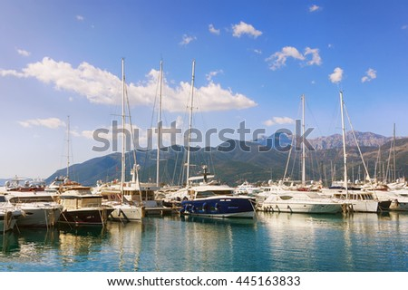 View of  Porto Montenegro in Tivat city. Montenegro