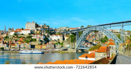View of Porto with famous Dom Luis II bridge on Douro river. Portugal