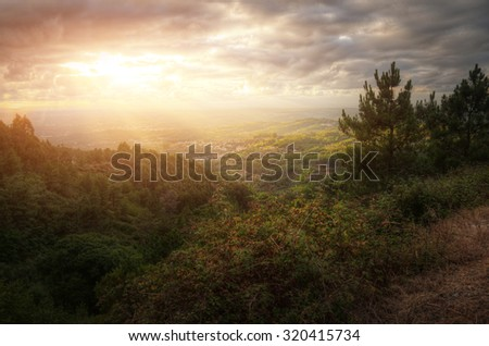 View of portuguese remote countryside landscape - stock photo