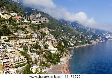View of Positano city, Italy - stock photo