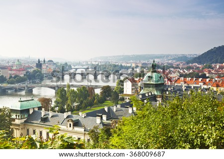 View of Prague and the bridges in the early morning, Czech Republic