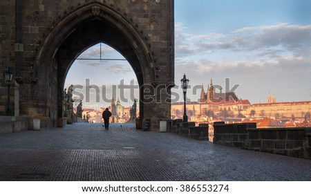 View of Prague castle and Charles Bridge and old town gate in Prague, Czech republic, Europe - stock photo
