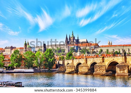 View of Prague Castle and Charles Bridge.Czech Republic. - stock photo