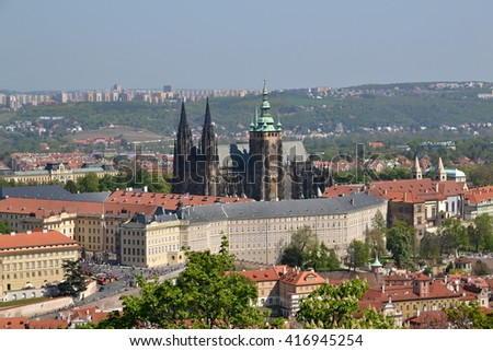 View of Prague castle and city
