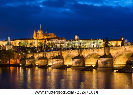 View of Prague Castle during twilight - stock photo