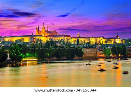 View of Prague Castle from the river Vltava.Czech Republic. - stock photo