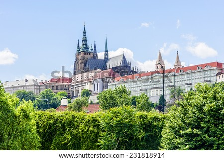 View of Prague castle, the Cathedral of St. Vitus from Vltava River. Prague, Czech Republic. - stock photo