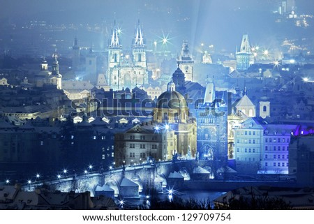 view of prague city with charles bridge - stock photo