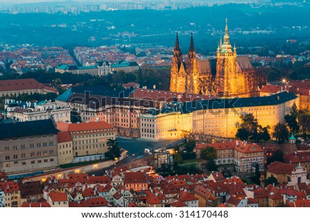 View of Prague, Czech Republic. Castle, St. Vitus Cathedral. Aerial view to Lesser Town, Prague castle and St. Nicholas church. - stock photo