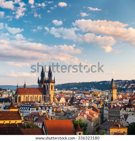 View of Prague (Czech Republic) towers - Church of Our Lady before Tyn towers and Old Town Hall tower - stock photo