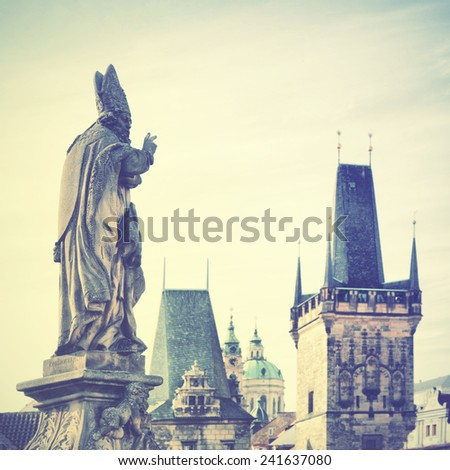 View of Prague, Czechia. Instagram style filtred image - stock photo