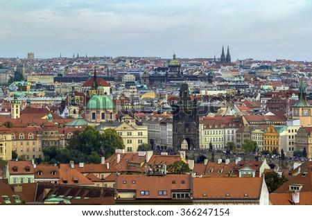 view of Prague from Prague castle, Czech republic - stock photo