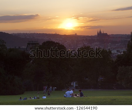 View of Prague from the hill in a park, Czech Republic - stock photo