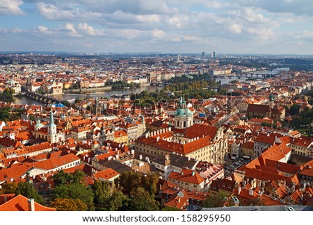 View of Prague from the St. Vitus Cathedral tower, Czech Republic.  - stock photo