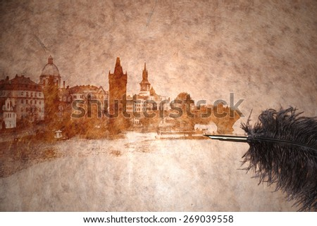 view of prague on vintage paper with old pen - stock photo
