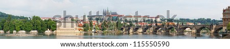 View of Prague, Vltava River, Charles Bridge and Gradchany - stock photo