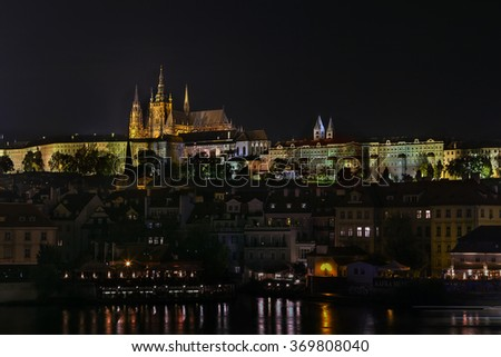 view of Prague with Prague castle from Charles bridge at night, Czech republic - stock photo
