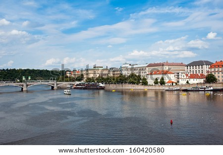 View of Prague with the river Vltava - stock photo