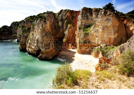 View of Praia de Dona Ana near Lagos, coast of Portugal