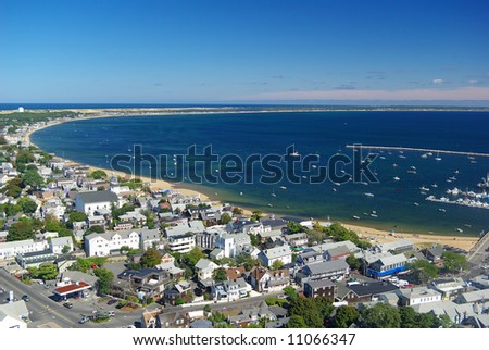 View of Provincetown and its bay from atop the Pilgrim Monument - stock photo