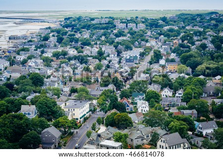 View of Provincetown from the Pilgrim's Monument, in Provincetown, Cape Cod, Massachusetts.