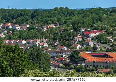 View of Provins medieval city from Cesar tower. Provins - commune in Seine-et-Marne department, Ile-de-France region, north-central France. UNESCO World Heritage Site. - stock photo