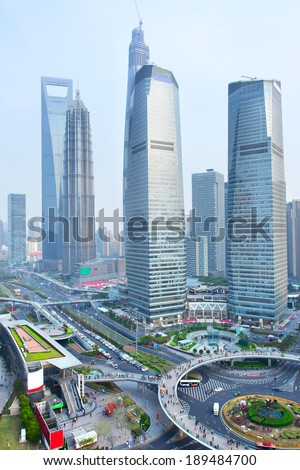 View of Pudong New Area, Shanghai, China - stock photo
