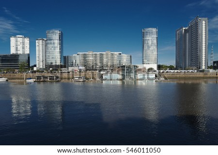 view of puerto madero with reflections over the Rio de la Plata, elegant neighborhood of buenos aires