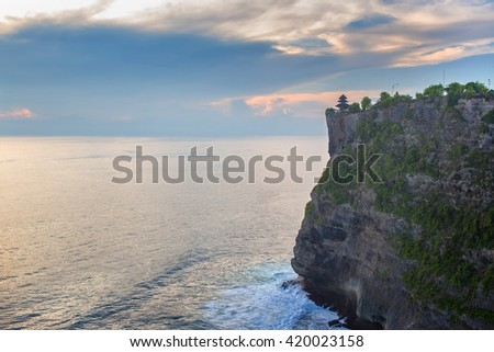 View of Pura Uluwatu cliff, Pura Uluwatu is a Balinese sea temple in Uluwatu in Bali, Indonesia