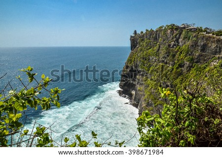 View of Pura Uluwatu temple in Bali island, Indonesia - stock photo