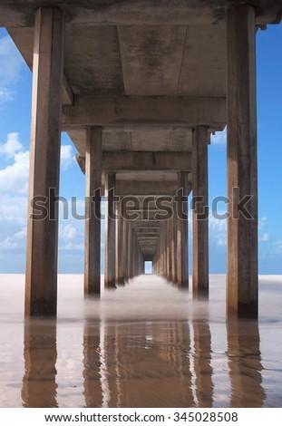 View of pylons under pier, Scripps Pier - stock photo